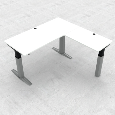 Electric Adjustable Desk | 180x180 cm | White with silver frame